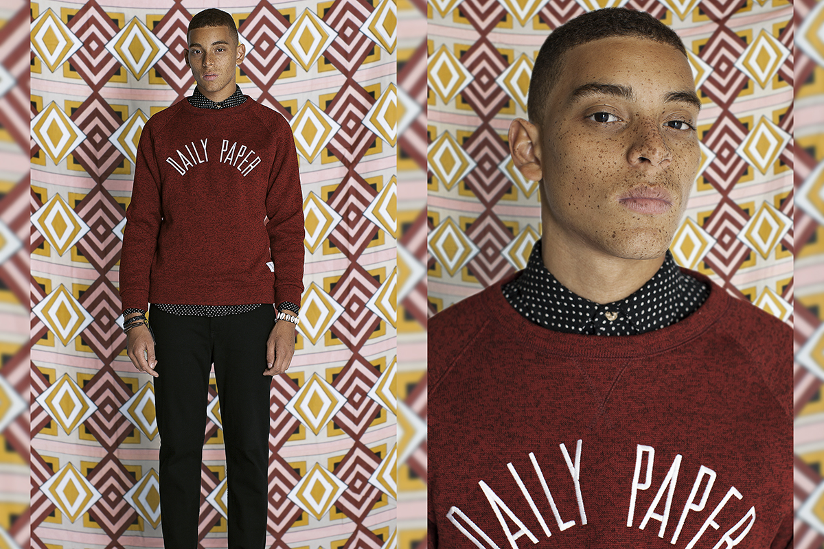 Daily Paper FW14 Lookbook Colorful Editorial Melange Crewneck Red