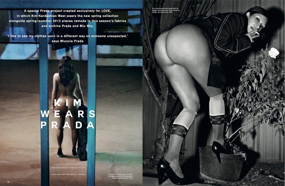 Kim Kardashian Naakt voor LOVE Magazine Backside