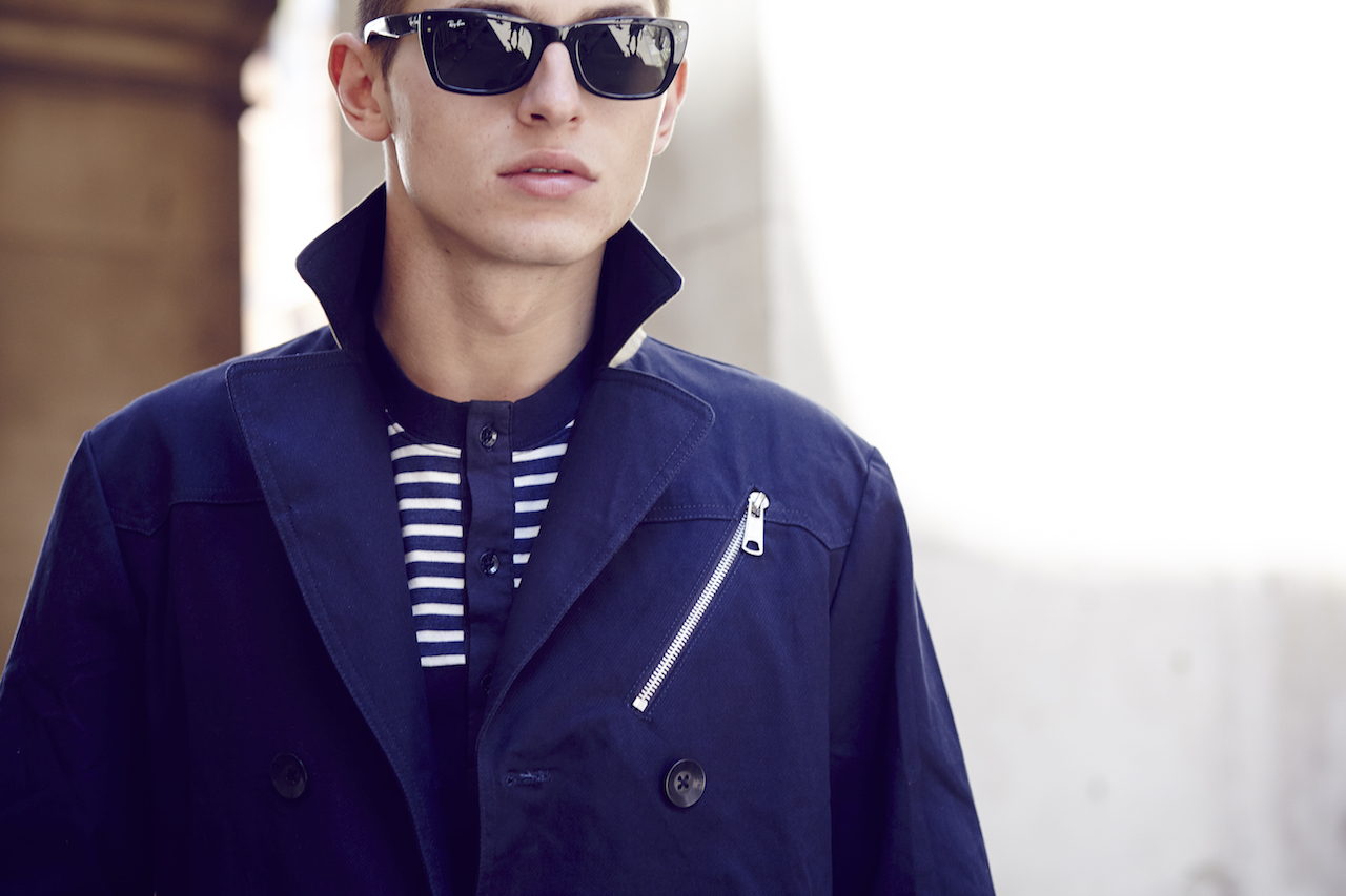 Notch London SS15 Lookbook Navy trenchcoat