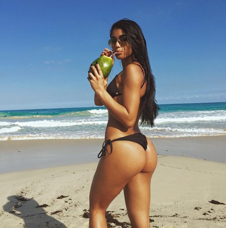 Yovanna Ventura Black Bikini and Coconut