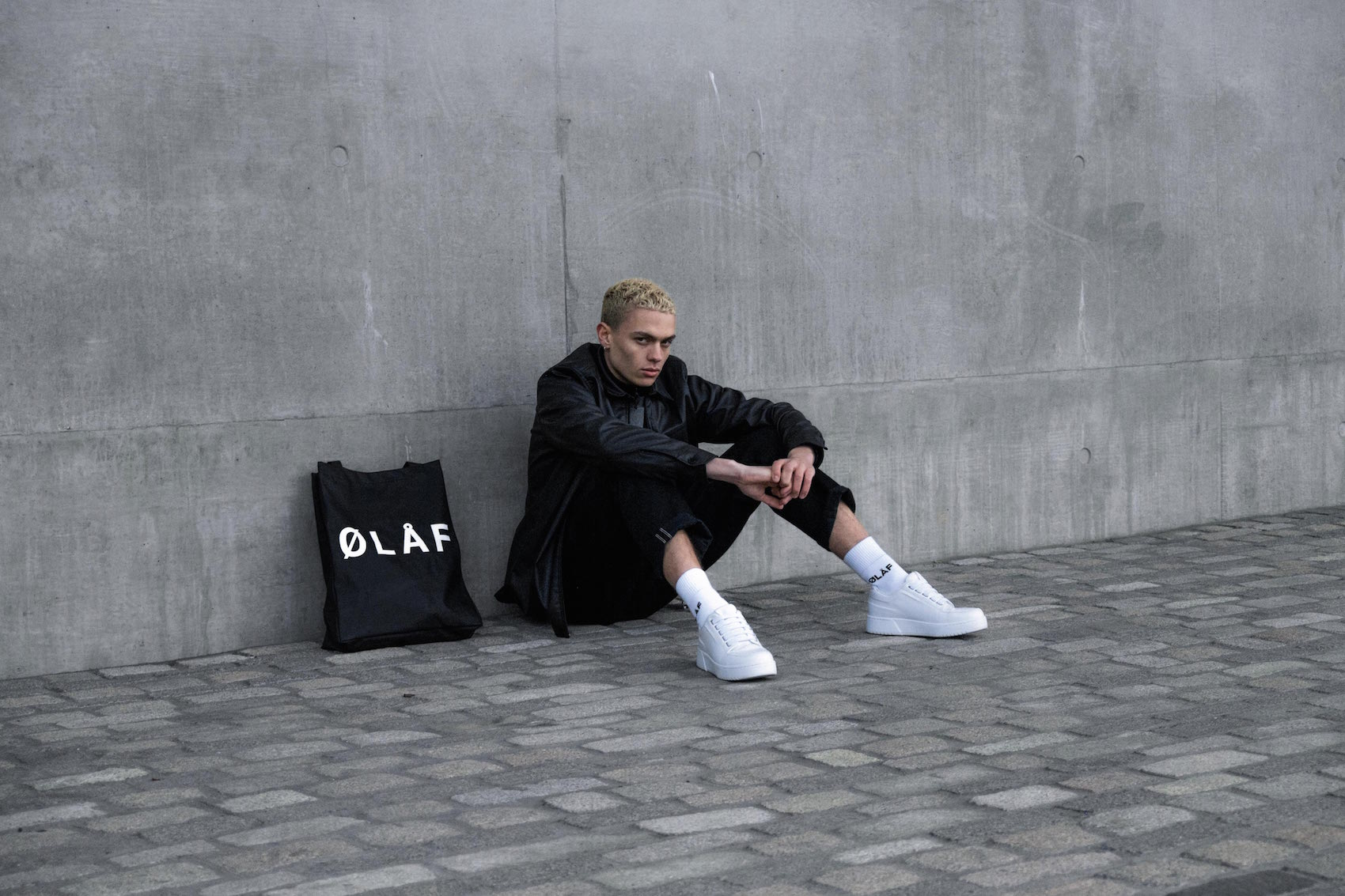 Olaf Hussein Black Jacket and Tote Bag and White SOcks
