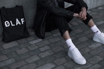 Olaf Hussein Black Jacket and Tote Bag and White Socks 2