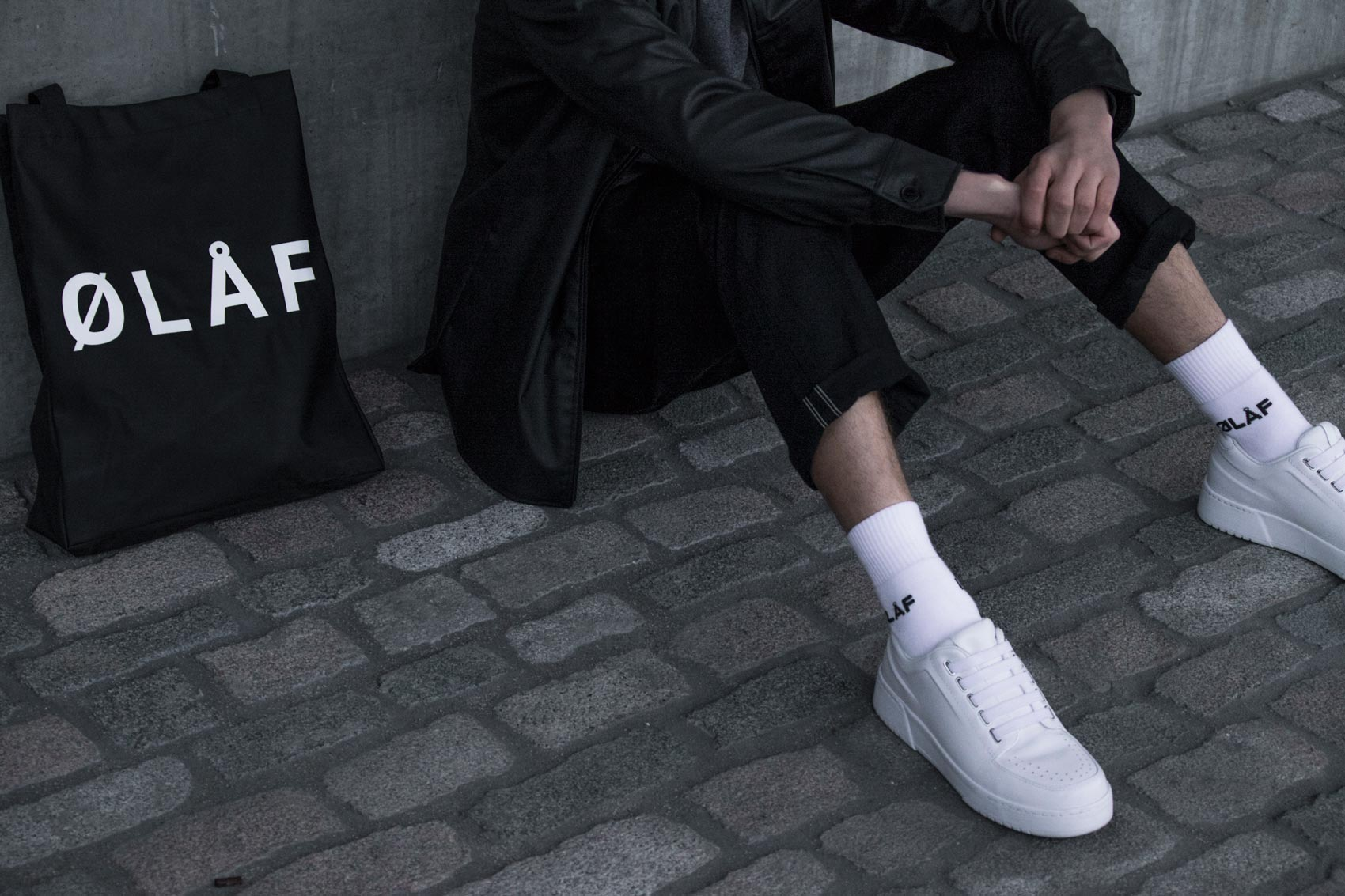 Olaf Hussein Black Jacket and Tote Bag and White Socks 2