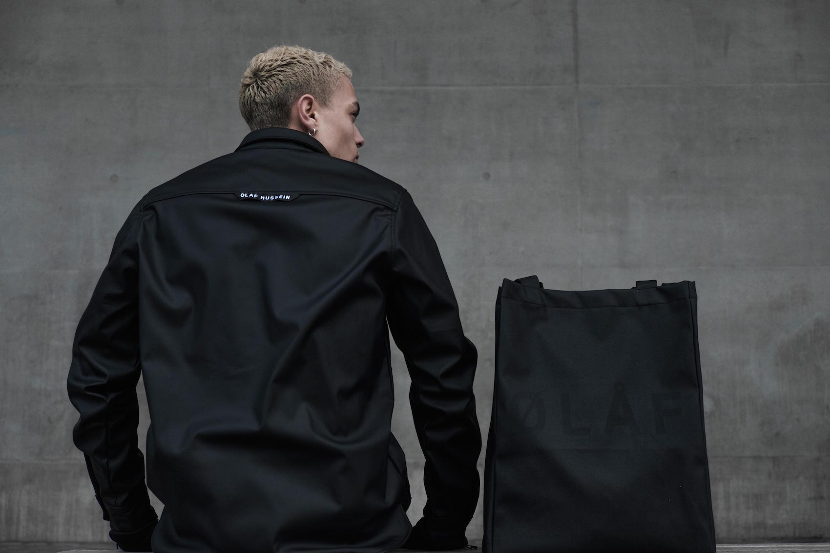 Olaf Hussein Black Jacket and Tote Bag