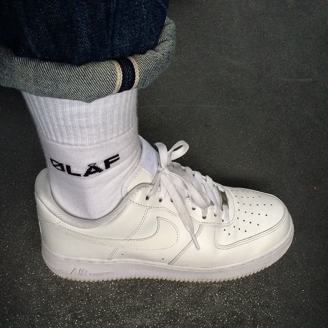 White Olaf Hussein socks in Nike AF1