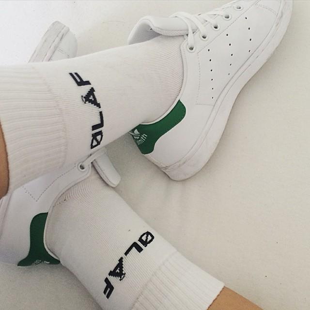 White Olaf Hussein socks in Stan Smith