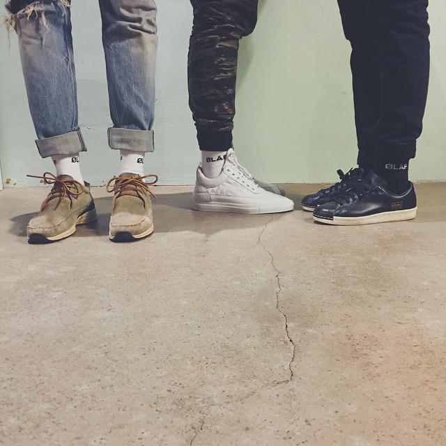 White Olaf Hussein socks in VISVIM, FP en Adidas