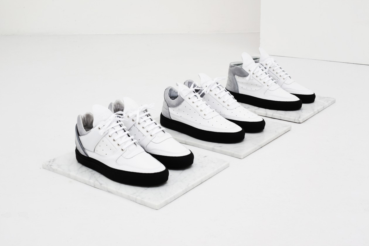 Filling Pieces Fall 15 Lookbook Low Top Perforated White Grey Black