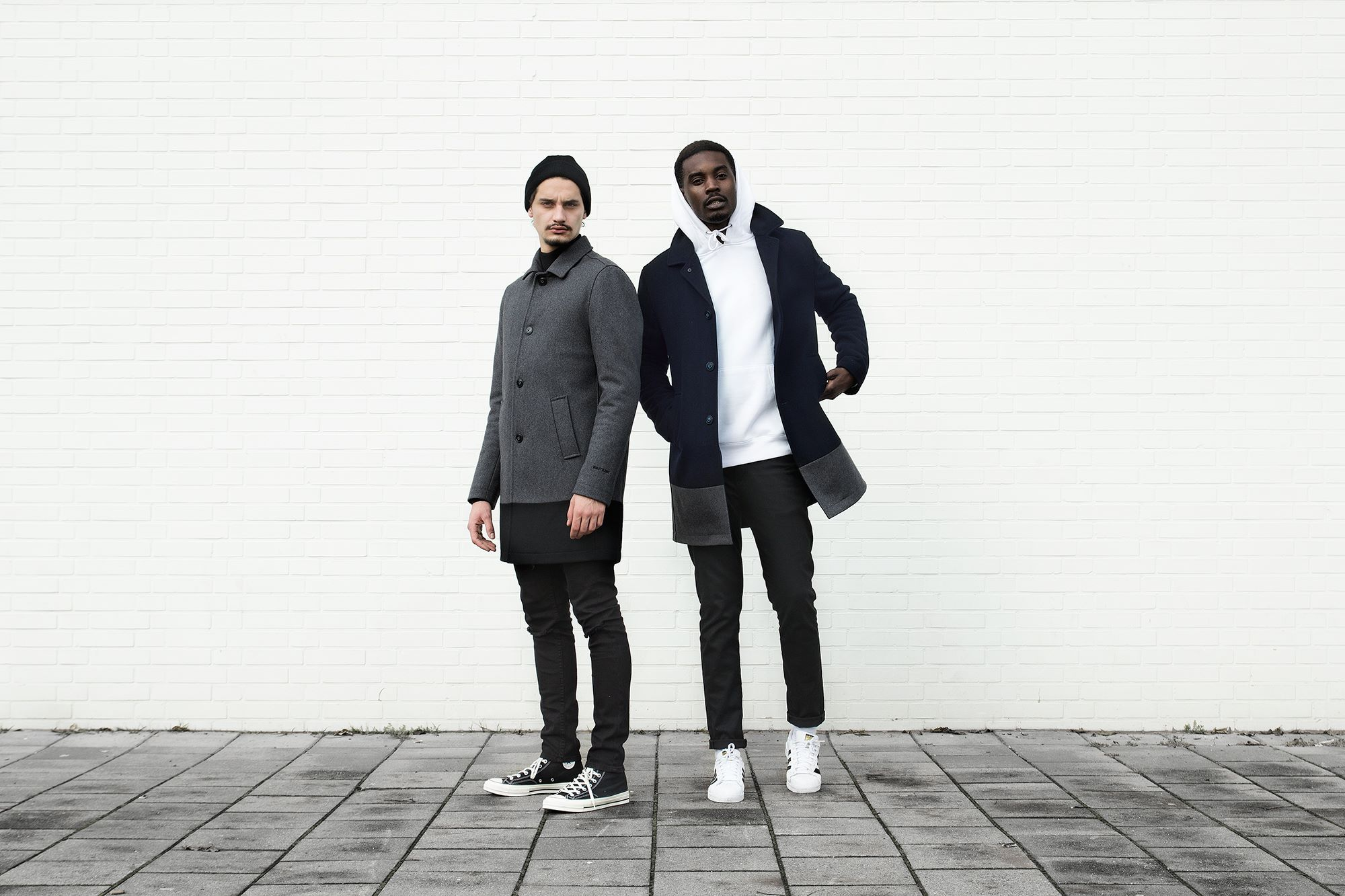 Quality Blanks Wollen Overcoat by FreshCotton Grey and Navy 2