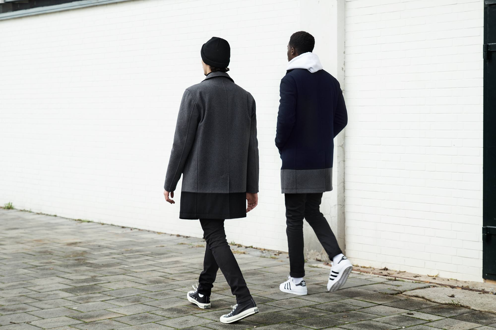 Quality Blanks Wollen Overcoat by FreshCotton Grey and Navy