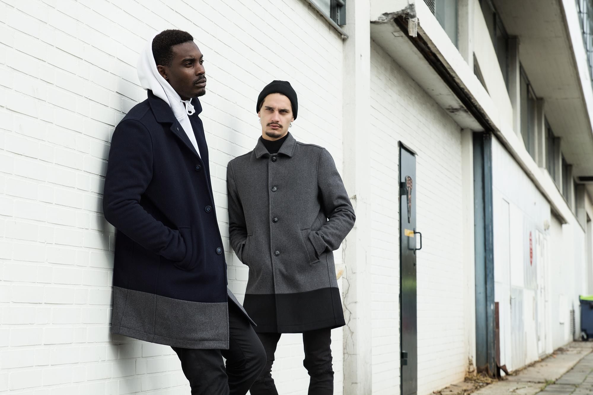Quality Blanks Wollen Overcoat by FreshCotton Navy and Grey