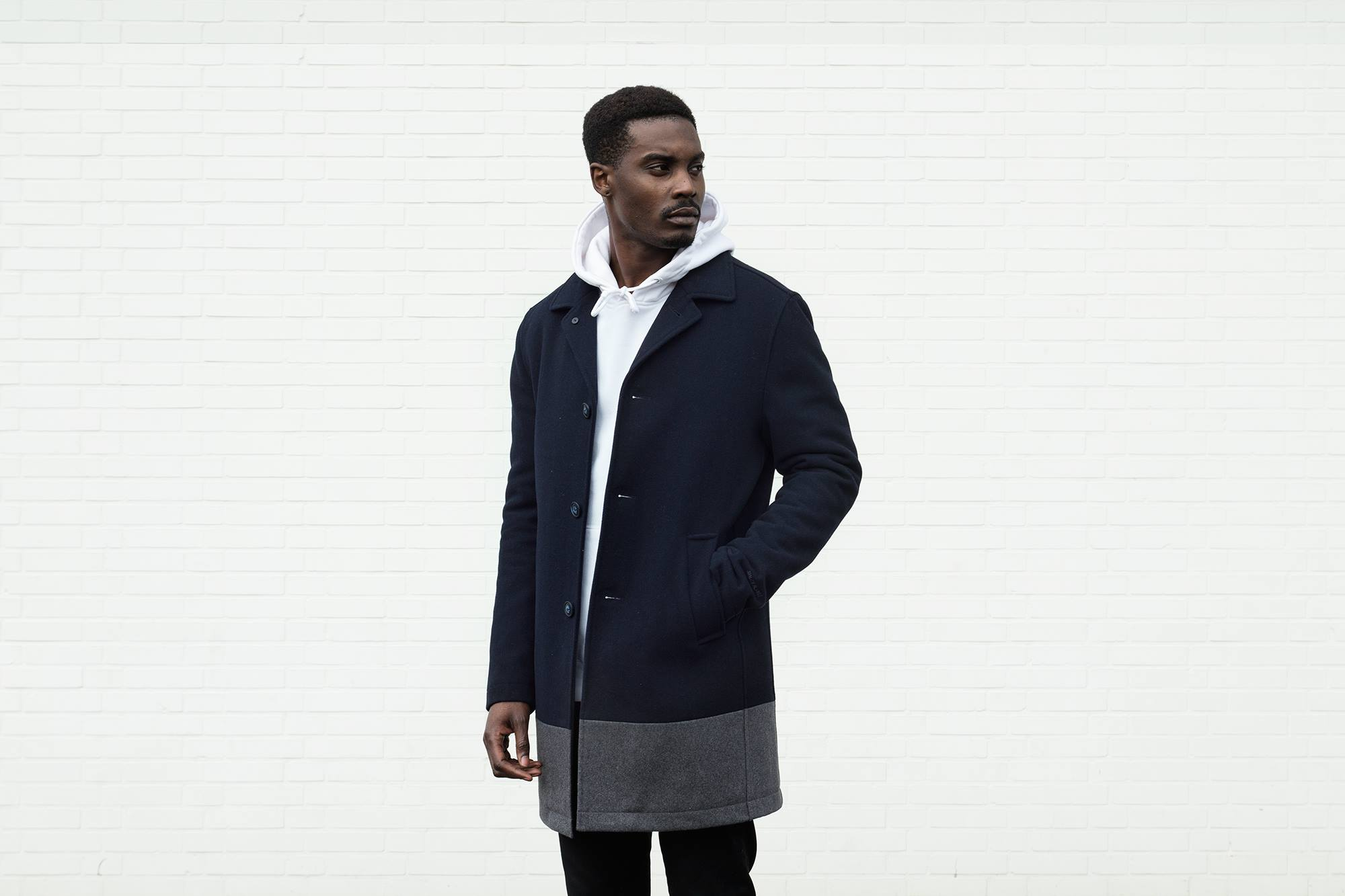 Quality Blanks Wollen Overcoat by FreshCotton Navy